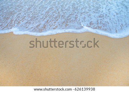 Soft Wave Of Ocean On Sandy Beach. Background. Selective #626139938