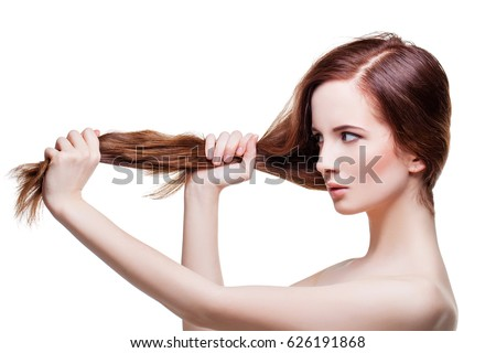 Beautiful girl with long strong hair #626191868