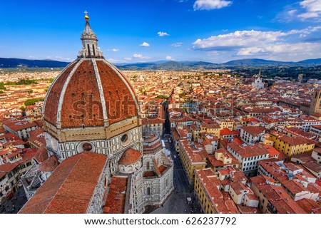 Florence Duomo. Basilica di Santa Maria del Fiore (Basilica of Saint Mary of the Flower) in Florence, Italy. Florence Duomo is one of main landmarks in Florence Royalty-Free Stock Photo #626237792