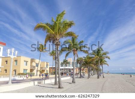 Hollywood Beach, Fl, USA - March 13, 2017: Hollywood Beach Broad Walk on a sunny day in March. Florida, United States #626247329
