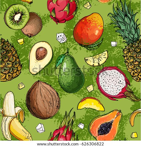 Pattern. Fresh food. Watermelon, cantaloupe, pomegranate, apricot, persimmon line drawn on a white background. Vector illustration. #626306822