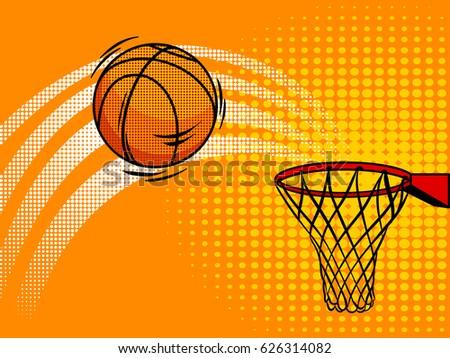 Basketball pop art style raster illustration. Comic book style imitation