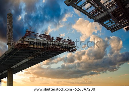 ST. PETERSBURG, RUSSIA - construction bridge crossing, This toll highway will connect the southwest of city with the Ring Road Royalty-Free Stock Photo #626347238