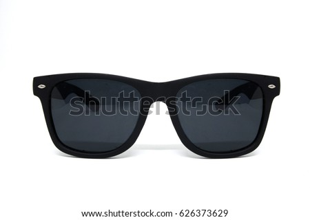 vintage fashion Sunglasses men isolated on white background cut out top view #626373629