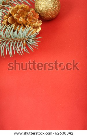 Christmas background, bauble, cone and branch on red #62638342