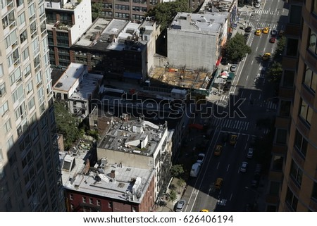 top shot of roof top and street of New York City #626406194