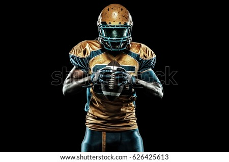 American football sportsman player isolated on black background #626425613