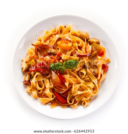 Pasta with ham and pepper #626442953