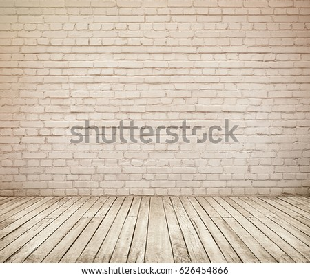 Room interior with white brick wall and wooden floor #626454866