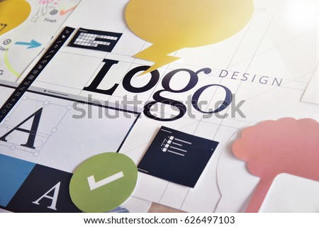 Corporate identity. Concept for logo design and development, branding, graphic design services, creative workflow.