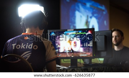 SACRAMENTO - APRIL 15: eSports athlete Hajime Tokido Taniguchi in Street Fighter V match at video game tournament NCR NorCal Regionals 2017. #626635877