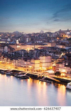 Panoramic cityscape view on Porto on the sunset in Portugal #626637407