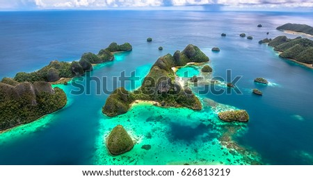 RAJA AMPAT, INDONESIA – MARCH 31, 2017: A aerial view of magic islands in the daytime in Raja Ampat, Indonesia on March 31, 2017. #626813219