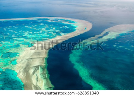 Aerial view of the Great Barrier Reef Royalty-Free Stock Photo #626851340