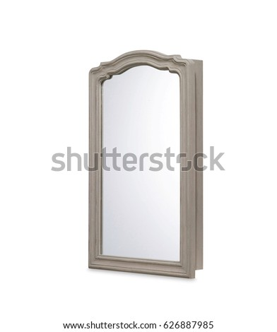 vintage frame mirror isolated on white  #626887985