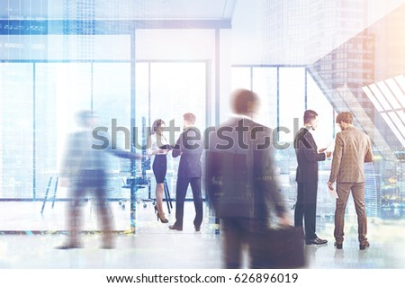 Business people are standing and walking in an attic office with glass walls and computer tables. 3d rendering, toned image, double exposure. #626896019