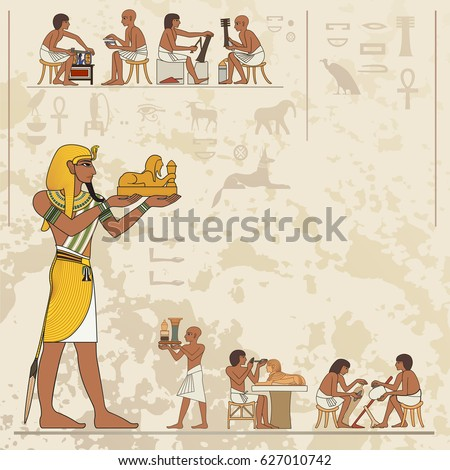 Ancient egypt banner.Egyptian hieroglyph and symbol. Stylized ancient culture background.Murals with ancient egypt scene #627010742