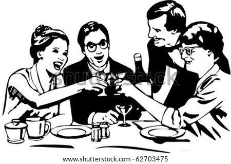 Vector picture dining with wine in restaurant