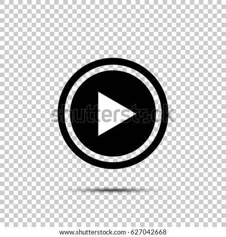 Play button icon in flat style on isolated background #627042668