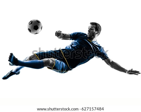 one caucasian soccer player man playing kicking in silhouette isolated on white background Royalty-Free Stock Photo #627157484
