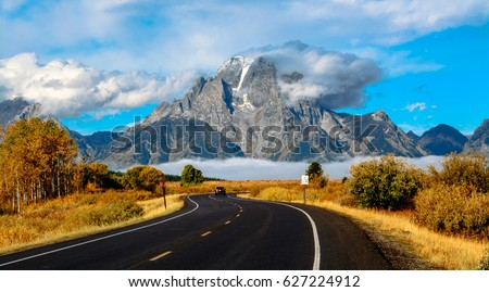 Grand Teton National Park USA Wyoming autumn #627224912