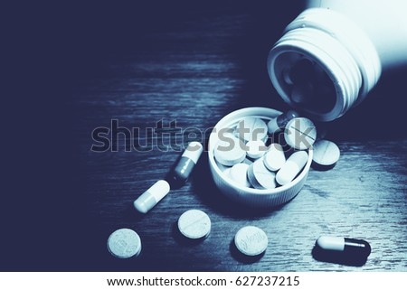 Drug prescription for treatment medication. Pharmaceutical medicament, cure in container for health. Pharmacy theme, capsule pills with medicine antibiotic in packages. #627237215