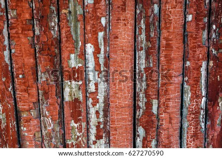 An old fence of red color.  #627270590