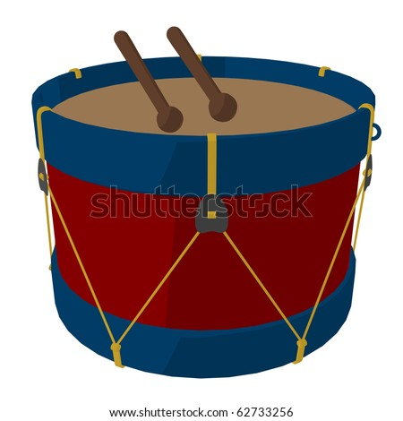 Marching band drums with drumsticks on a white background