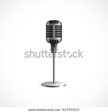 Vintage metal studio microphone. Isolated on white background. Vector illustration, eps 10. #627433121