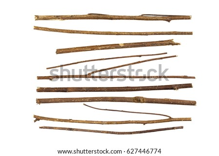 Collection dry branches Twigs isolated on white background Royalty-Free Stock Photo #627446774