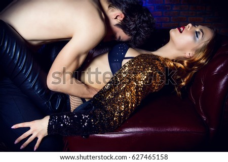 Passionate couple making love. Beauty, fashion. Nightlife concept, party. #627465158