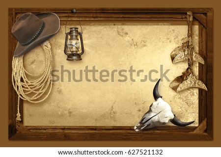 Wild West Background Border frame #627521132