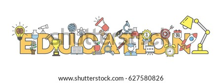 Eduation illustartion concept on white background. Word with many icons as target, lamp, medal, apple and more. #627580826