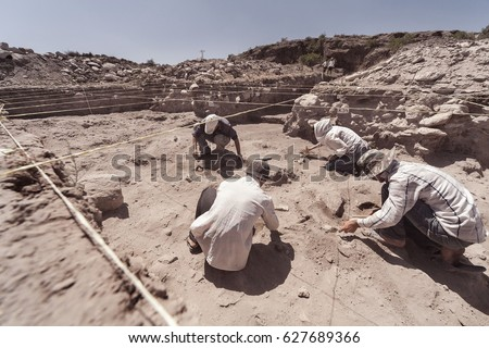 Archaeologist working in field, with special tools Royalty-Free Stock Photo #627689366