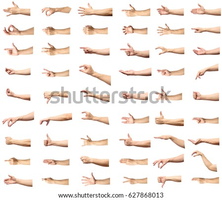 Multiple male caucasian hand gestures isolated over the white background, set of multiple images Royalty-Free Stock Photo #627868013