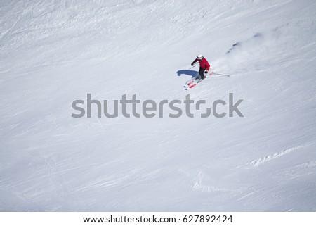 Unknown skier in Sierra Nevada, Granada. #627892424