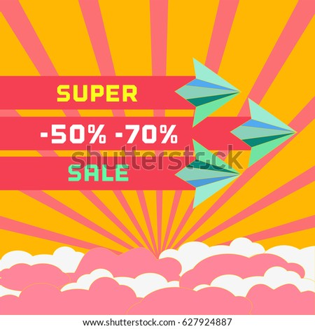 Paper plane. Super sale Concept. Freehand drawn flat style. Paper airplane fly. Sales poster, discount banner element. Special discounts offer season background. Bonus Marketing campaign illustration