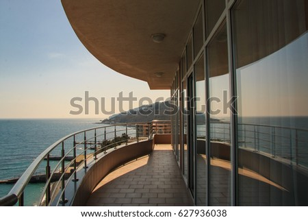 Great view from the balcony to the sea #627936038