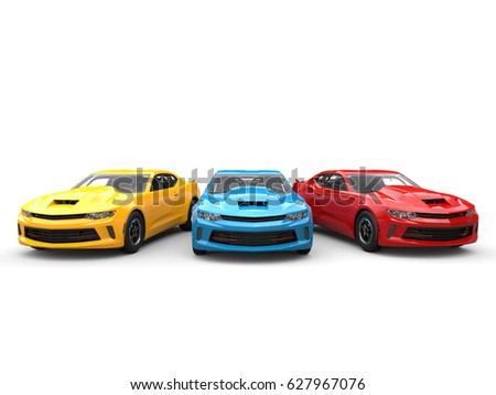 Red, blue and yellow modern fast cars - beauty shot - 3D Illustration #627967076