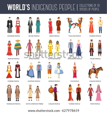 People Friendship. International Day of the World Indigenous Peoples. Vector flat circle concept illustration concept background #627978659