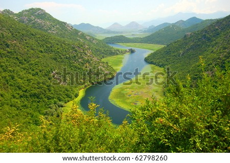 Picturesque superb gorgeous view on Crnojevica river in Montenegro #62798260