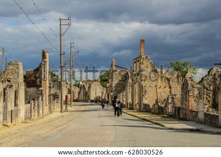 Part of the village of Oradour-sur-Glane thats never restored after the second world war #628030526