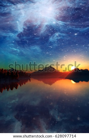 Landscape under the Milky way. Elements of this image furnished by NASA. 3D Illustration #628097714