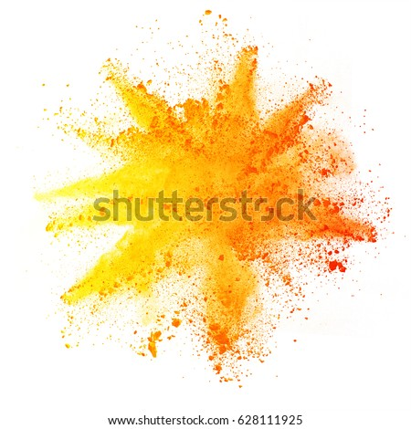 Explosion of colored powder, isolated on white background. Power and art concept, abstract blast of colors. Royalty-Free Stock Photo #628111925