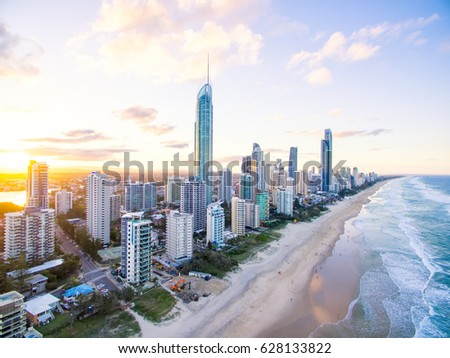 Surfers Paradise skyline at sunset from an aerial view #628133822