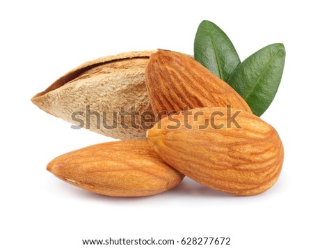 almond with green leaf isolated on white background #628277672