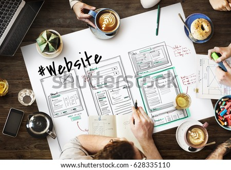 Website development layout sketch drawing Royalty-Free Stock Photo #628335110