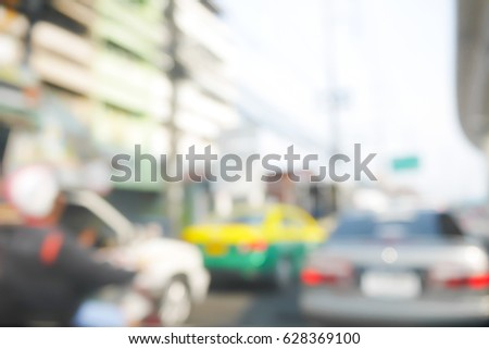 Picture blurred  for background abstract of Driving slow in a traffic jam #628369100