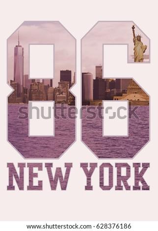 Photo print New York College sport , typography, tee shirt graphics , athletic