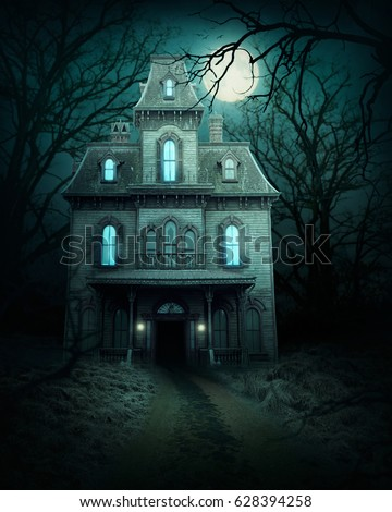 Haunted house in the forest Royalty-Free Stock Photo #628394258